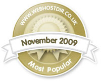 Ranked in the top 10 most popular web hosts based on website traffic from the online WebHostDirectory website - August 2009