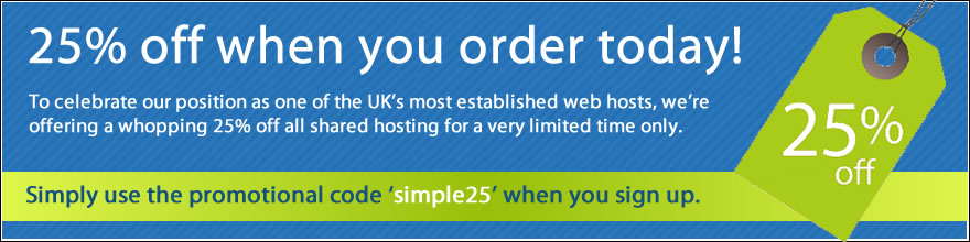 25% off all shared hosting.