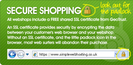 All webshops include a FREE shared SSL certificate from GeoTrust - look out for the padlock!