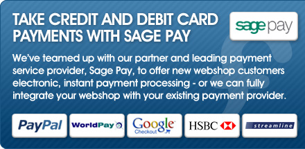 We�ve teamed up with our partner and leading payment service provider, Sage Pay, to offer new webshop customers three months FREE payment processing - or we can fully integrate your webshop with your existing payment provider.