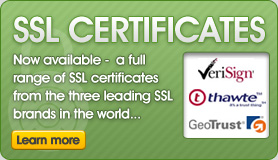 Full range of SSL certificates available from the 3 three leading SSL brands...