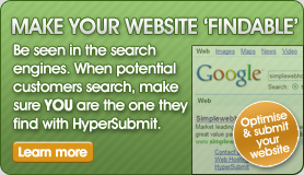 Make Your Website 'Findable'  - Be seen in the search engines. When potential customers search, make sure YOU are the one they find with HyperSubmit.
